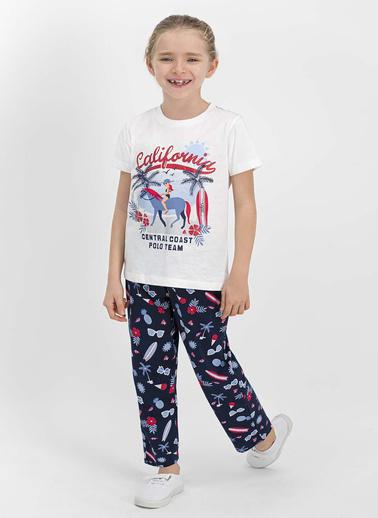 U.S. Polo Assn.  Lisanslı Toz Pembe Kız Çocuk Pijama Takımı Krem